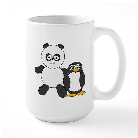 Panda and penguin Large Mug