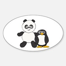 Panda and penguin Sticker (Oval)