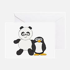 Panda and penguin Greeting Card