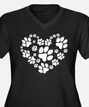 Paws Heart Plus Size T-Shirt