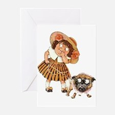 Bulldog & Girl Cartoon Greeting Cards (Package of