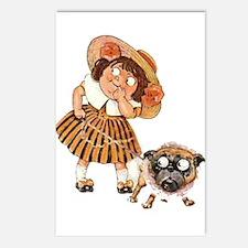 Bulldog & Girl Cartoon Postcards (Package of 8)
