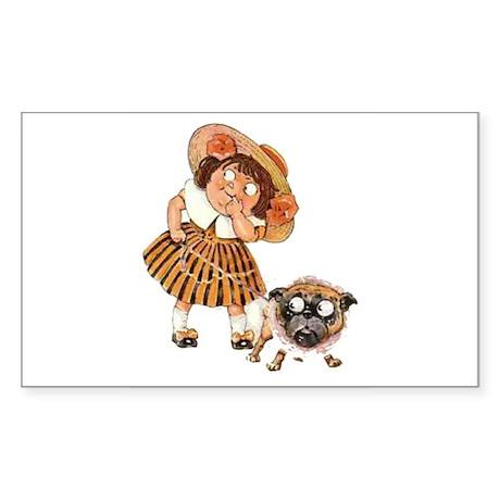 Bulldog & Girl Cartoon Rectangle Sticker