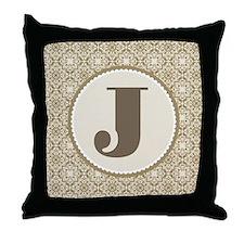 Monogram Letter J Throw Pillow