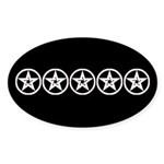 Pentagram Black and White As Above D Sticker (Oval