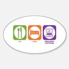 Eat Sleep Information Oval Decal