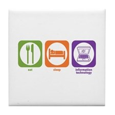 Eat Sleep Information Tile Coaster