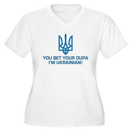 Funny Ukrainian Dupa Women's Plus Size V-Neck T-Sh