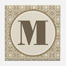 Monogram Letter M Gift Tile Coaster