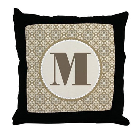 Monogram Letter M Gift Throw Pillow