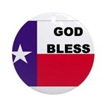 God Bless Texas Ornament (Round)