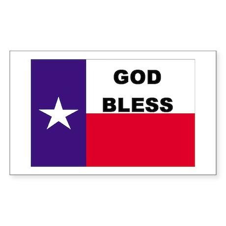God Bless Texas Rectangle Sticker