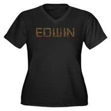 Edwin Circuit Women's Plus Size V-Neck Dark T-Shir