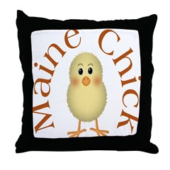 Maine Chick Throw Pillow