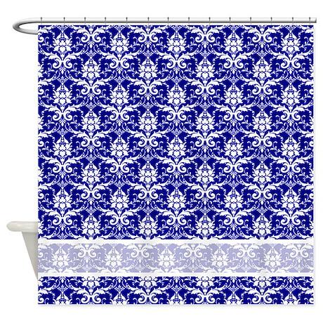 Blue Damask Pattern Shower Curtain