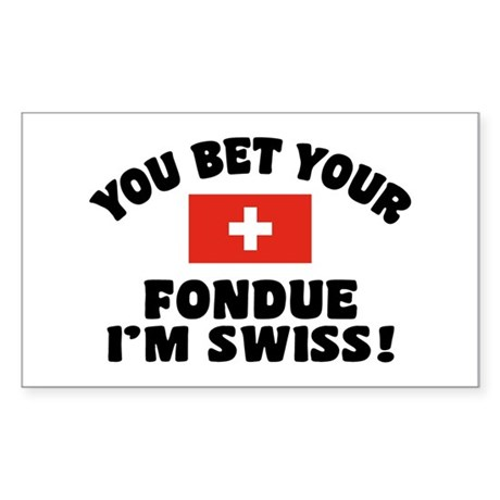 Funny Swiss Fondue Sticker (Rectangle)