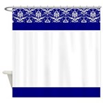 Blue and White Victorian Pattern Shower Curtain