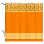 Orange Sunshine Pattern Shower Curtain
