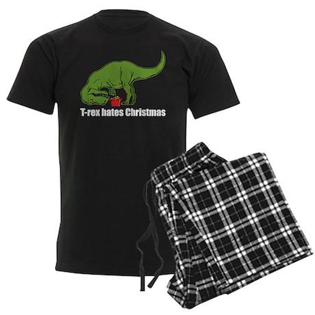 T-rex hates Christmas Men's Dark Pajamas