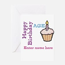 Personalized Birthday Cupcake Greeting Card