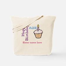 Personalized Birthday Cupcake Tote Bag