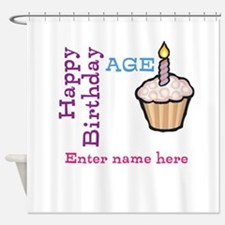 Personalized Birthday Cupcake Shower Curtain