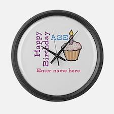 Personalized Birthday Cupcake Large Wall Clock