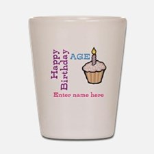 Personalized Birthday Cupcake Shot Glass