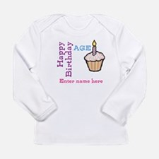 Personalized Birthday Cupcake Long Sleeve Infant T