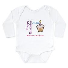 Personalized Birthday Cupcake Long Sleeve Infant B