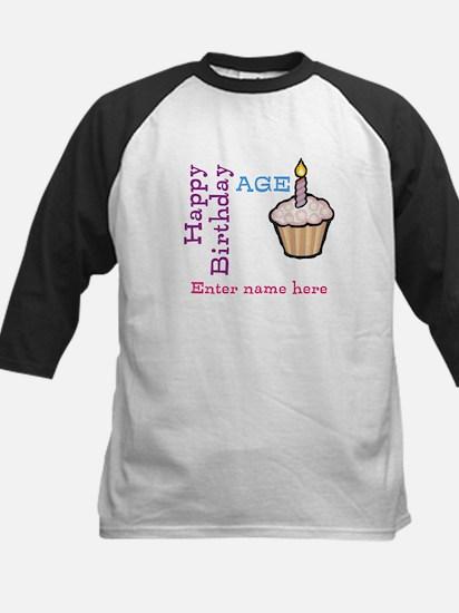 Personalized Birthday Cupcake Kids Baseball Jersey