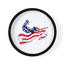 Patriotic Snowmobiler/USA Fla Wall Clock