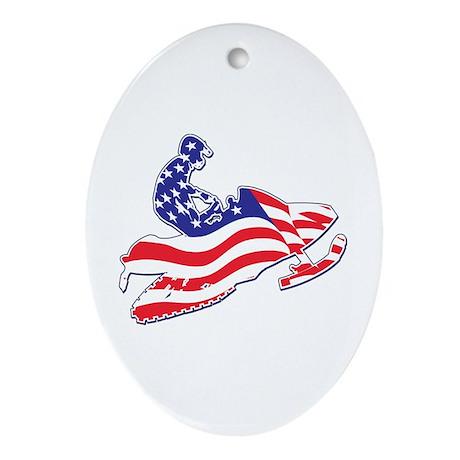 Patriotic Snowmobiler/USA Fla Ornament (Oval)