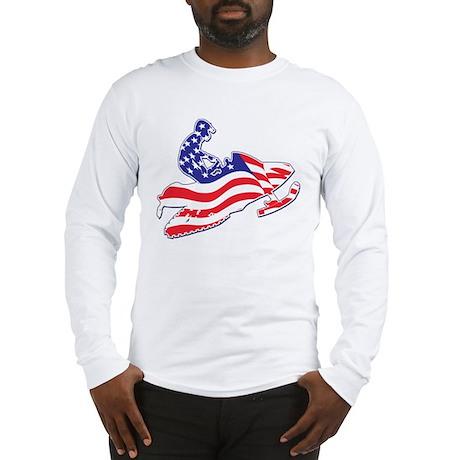 Patriotic Snowmobiler/USA Fla Long Sleeve T-Shirt