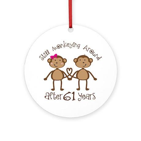 61st Anniversary Love Monkeys Ornament (Round)