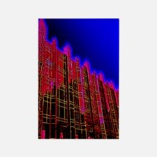 PPG Place Pittsburgh in Neon Red Rectangle Magnet