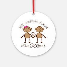 58th Anniversary Love Monkeys Ornament (Round)