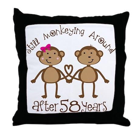 58th Anniversary Love Monkeys Throw Pillow