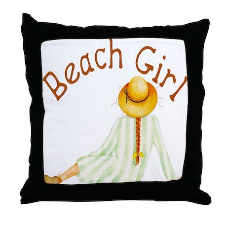 Beach Girl Throw Pillow