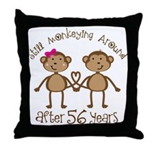 56th Anniversary Love Monkeys Throw Pillow