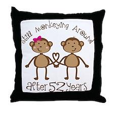 52nd Anniversary Love Monkeys Throw Pillow