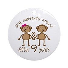 9th Anniversary Love Monkeys Ornament (Round)