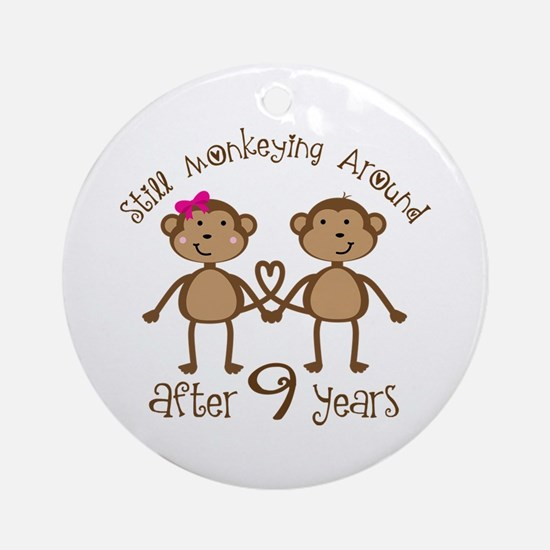 9th Anniversary Love Monkeys Ornament (Round)