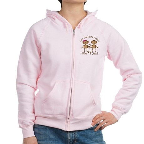 9th Anniversary Love Monkeys Women's Zip Hoodie