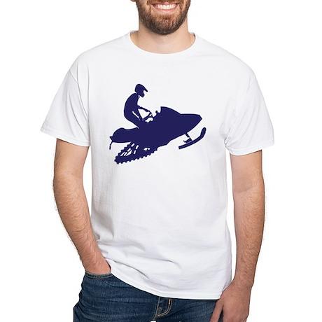Snowmobiler/navy blue White T-Shirt