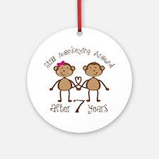 7th Anniversary Love Monkeys Ornament (Round)