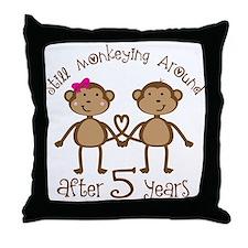 5th Anniversary Love Monkeys Throw Pillow