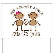 5th Anniversary Love Monkeys Yard Sign