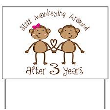 3rd Anniversary Love Monkeys Yard Sign