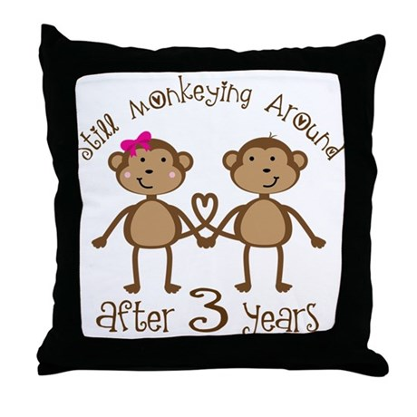 3rd Anniversary Love Monkeys Throw Pillow